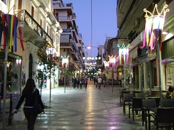 Gerokostopoulou street during the Patras Carnival.