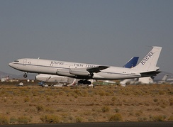 Omega Air's 707-330C testbed for the 707RE program takes off from the Mojave Airport