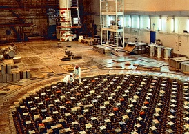 Reactor hall of the RBMK-1500 at Ignalina Nuclear Power Plant, Lithuania – the upper biological shield (UBS) lies several meters below the floor of the reactor hall.