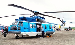 A EC225 on display at the Hsinchu Air Base open house