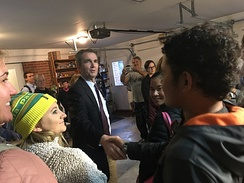 Northam meeting with volunteers in Blacksburg, Virginia, in 2017