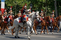 Mounted members of the French Republican Guard Band, a fanfare band during Bastille Day in 2013.