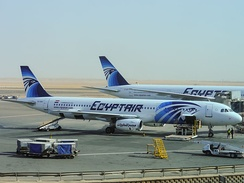EgyptAir Airbus A321-231 and Boeing 777-300ER at Cairo International Airport