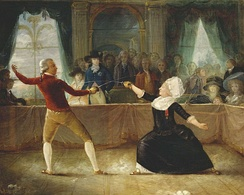 Fencing Match between Chevalier de Saint-Georges and 'La chevalière D'Eon' on April 9, 1787 in Carlton House, painting by Charles Jean Robineau