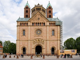 The 19th-century reconstruction of the westwerk of the Romanesque Speyer Cathedral. see above