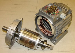 Electric motor rotor (left) and stator (right)