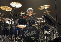 Drummer Stewart Copeland performing in Marseille with the group.