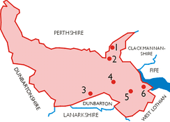 Map of Stirlingshire in 1975, showing the position of burghs in the county.