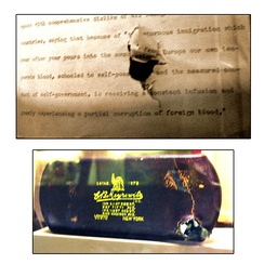 The bullet-damaged speech and eyeglass case on display at the Theodore Roosevelt Birthplace