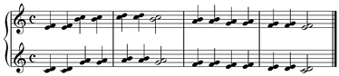 """Twinkle Twinkle Little Star"" melody doubled at seconds: neither consonant nor equivalent.  Play (help·info)"
