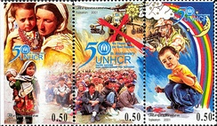 UNHCR 50th anniversary. Stamp of Tajikistan, 2001.
