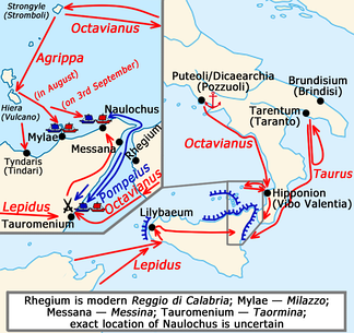 Sicilian revolt, campaign of 36 BC.↗ — actions of Octavianus and his commanders;↗ — actions of Sextus Pompeius and his commanders.