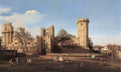 The east front of Warwick Castle from the outer court, painted by Canaletto in 1752.[33]