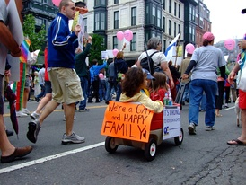Boston gay pride march, held annually in June. In 2004 Massachusetts became the first U.S. state to legalize same-sex marriage.