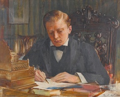 A painting of the young Churchill by Edwin Arthur Ward.
