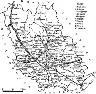 Map of Prahova County as constituted in 1938.
