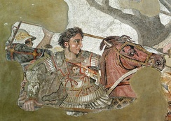 Alexander Mosaic from Pompeii, from a 3rd-century BC original Greek painting, now lost. In 336–335 BC, the king of Macedon crippled any attempt of the Greek cities at resistance and shattered Demosthenes's hopes for Athenian independence.