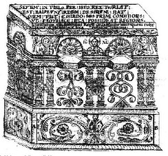 Eighteenth century drawing of Baldwin V's tomb in the Church of the Holy Sepulchre, by Elzear Horn. (Vatican Library)
