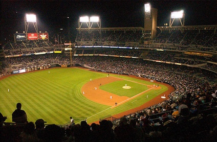 The baseball diamond of the San Diego Padres' Petco Park, seen from the left field stands.