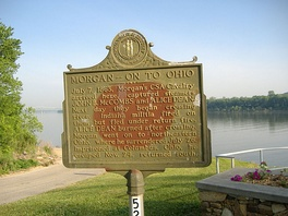 Historical marker noting Morgan's activities at Brandenburg, Kentucky, where his forces captured two steamboats, the John B. McCombs and the Alice Dean, before crossing the Ohio River into Indiana