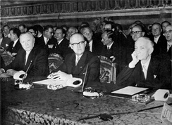 Konrad Adenauer, Walter Hallstein and Antonio Segni, signing the European customs union and Euratom in Rome in 1957
