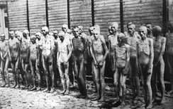 Naked Soviet POWs in the Mauthausen concentration camp, date unknown