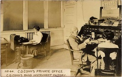 C.G. Conn in his office, March 1910.