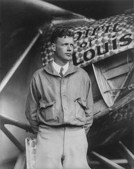 Lindbergh with the Spirit of St. Louis before his Paris flight