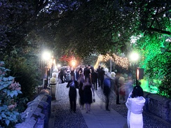 The bridge over the River Cam at Clare College during its 2005 May Ball