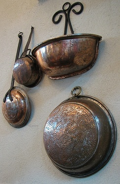 Old copper utensils in a Jerusalem restaurant