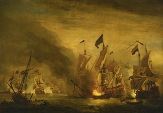 Dutch fire ship attack on the English flagship Royal James at the Battle of Solebay (1672). Painting by Willem van de Velde the Younger