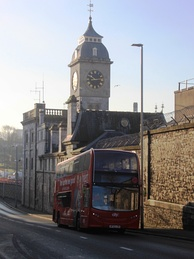 Clock tower and police office (formerly one of a pair flanking the gate to Keyham Steam Yard)