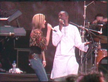 "Dido and Youssou N'Dour performing ""7 Seconds"" at Live 8 in Hyde Park."