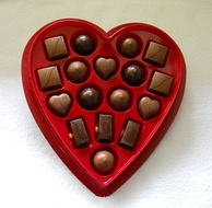 A gift box of chocolates, which is a common gift for Valentine's Day