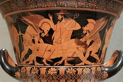 "Sarpedon's body carried by Hypnos and Thanatos (Sleep and Death), while Hermes watches. Side A of the so-called ""Euphronios krater"", Attic red-figured calyx-krater signed by Euxitheos (potter) and Euphronios (painter), c. 515 BC."
