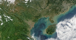 True color satellite image of the Gulf of Tonkin