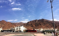 Mount Uhud seen from cemetery of Uhud martyrs