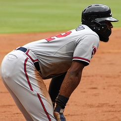 Jason Heyward wears a helmet with a protective guard during a 2014 game. Heyward started wearing the guard after being hit by a pitch in his face, which caused him to suffer a broken jaw.