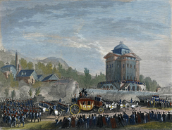 Return from Varennes - Louis XVI's arrival in Paris, engraving by Duplessis-Betraux after a drawing by Jean-Louis Prieur (1791).