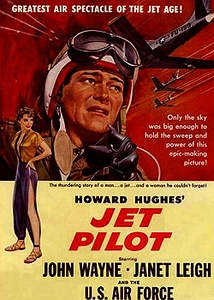 Jet Pilot, a Hughes pet production launched in 1949. Shooting wrapped in May 1951, but it was not released until 1957 due to his interminable tinkering. RKO was by then out of the distribution business. The movie was released by Universal-International.[173]