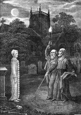 John Dee and Edward Kelley using a magic circle ritual to invoke a spirit in a church graveyard.