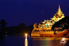 The Karaweik at night time, at Kandawgyi Lake, which is one of a few major recreational parks in Yangon.
