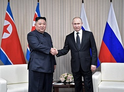 North Korean leader Kim Jong-un meeting with Russian President Putin, 25 April 2019