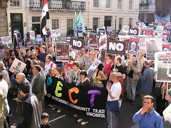 Protesters on 19 March 2005, in London, where over 150,000 marched