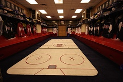 The Canadiens' locker room prior to being renovated.