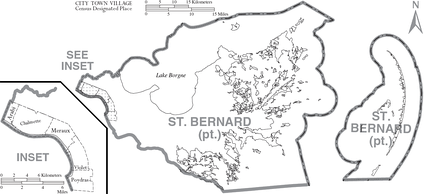 Map of St. Bernard Parish, Louisiana With Municipal Labels