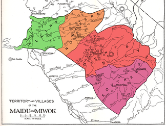 Map of the territory and villages (not exhaustive) of the Plains and Sierra Miwok (after Kroeber 1925).