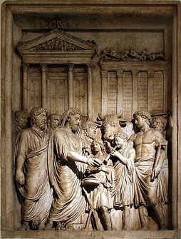 Marcus Aurelius and members of the Imperial family offer sacrifice in gratitude for success against Germanic tribes: contemporary bas-relief, Capitoline Museum, Rome