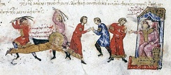 The torture and martyrdom of the iconophile Bishop Euthymius of Sardeis by the iconoclast Byzantine Emperor Michael II in 824, in a 13th-century manuscript