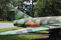 "Tail section showing insignia, camouflaged MiG-17s were often referred to as ""snakes"" by NVAF pilots.[8]"